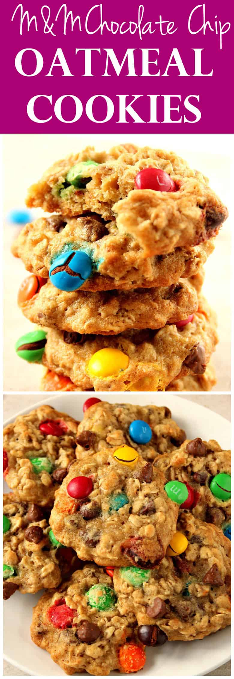 m m chocolate chip oatmeal cookies long11 Oatmeal Chocolate Chip M&M Cookies Recipe