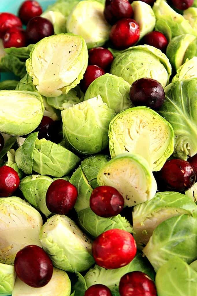 roasted Brussels sprouts recipe 1  682x1024 Bacon Roasted Brussels Sprouts with Cranberries Recipe
