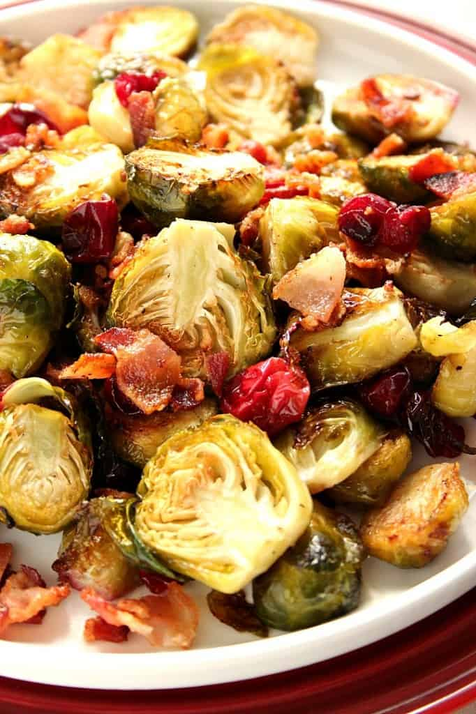 roasted Brussels sprouts recipe 4 682x1024 Bacon Roasted Brussels Sprouts with Cranberries Recipe
