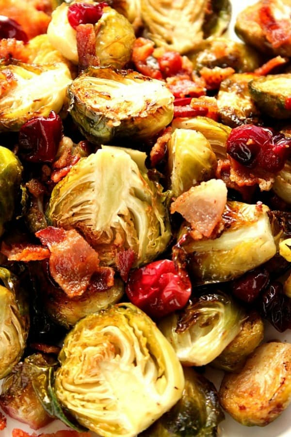 roasted Brussels sprouts recipe a Bacon Roasted Brussels Sprouts with Cranberries