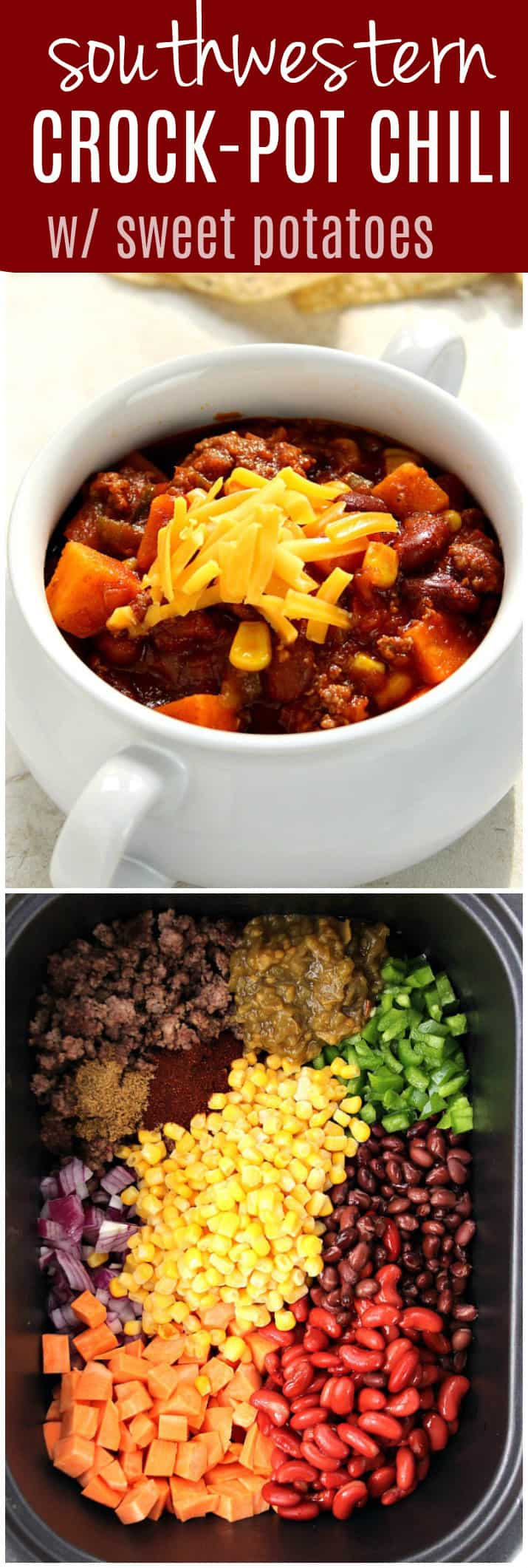 southwestern crock pot chili with sweet potatoes recipe long1 Southwestern Crock Pot® Chili with Sweet Potatoes Recipe