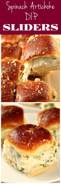 spinach dip sliders recipe long1 Cheesy Spinach Artichoke Dip Sliders Recipe