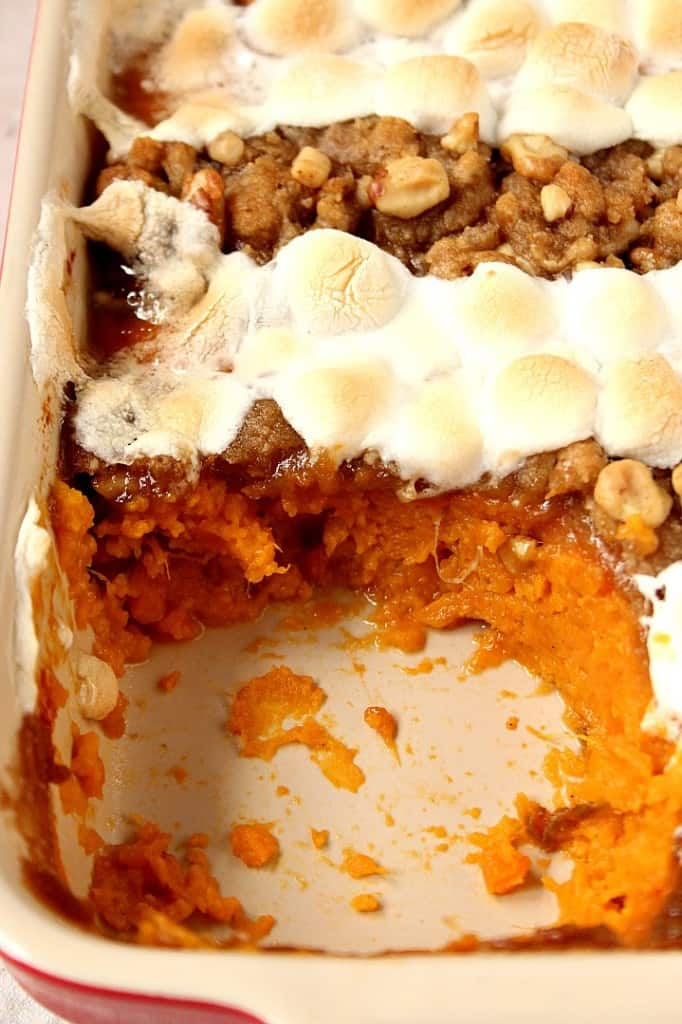sweet potato casserole with praline topping marshmallows 2 682x1024 Sweet Potato Casserole with Praline Marshmallow Topping Recipe
