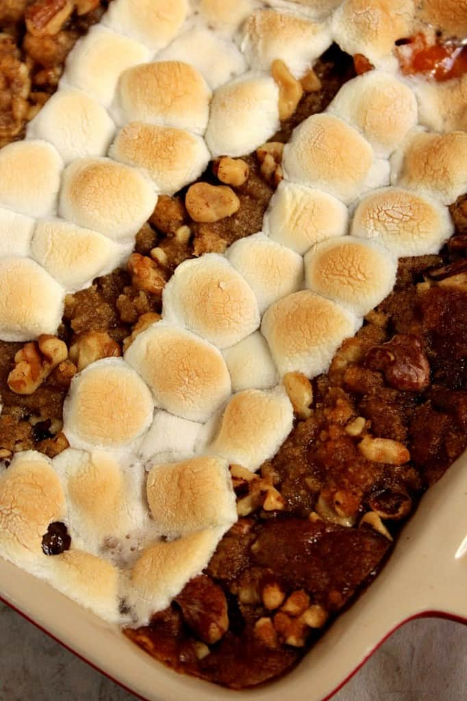 sweet potato casserole with praline topping marshmallows 3 682x1024 Sweet Potato Casserole with Praline Marshmallow Topping Recipe