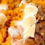 sweet potato casserole with praline topping marshmallows a 150x150 Sweet Potato Casserole with Praline Marshmallow Topping Recipe
