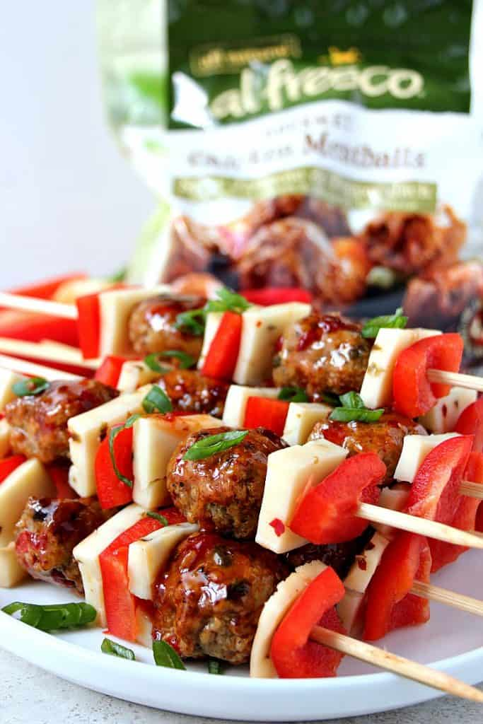 meatball kebobs 2 683x1024 Sweet and Spicy Chicken Meatball Kebobs Recipes