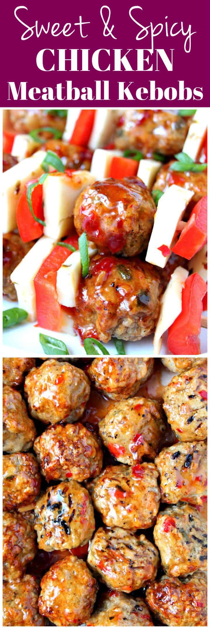 meatball kebobs long 1 Sweet and Spicy Chicken Meatball Kebobs Recipes