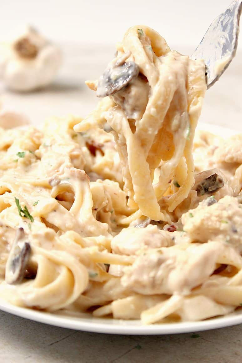 mushroom chicken alfredo 2 Creamy Mushroom Garlic Chicken Recipe Card