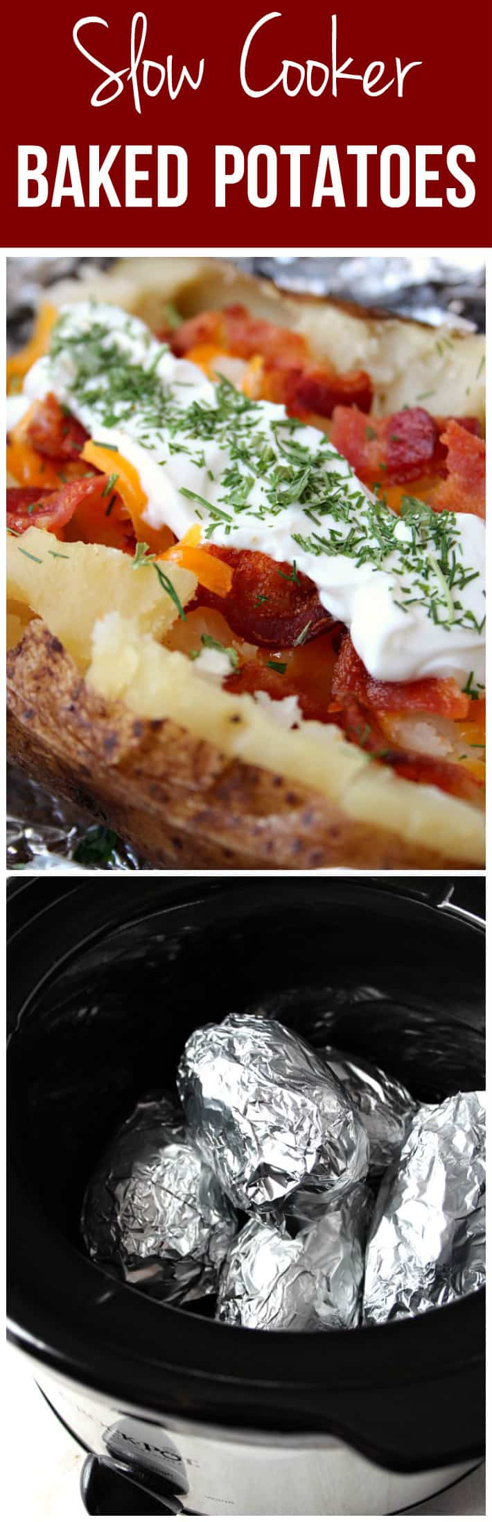 slow cooker baked potatoes recipe long3 Slow Cooker Baked Potatoes ...