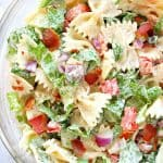 BLT Pasta Salad in large glass bowl.
