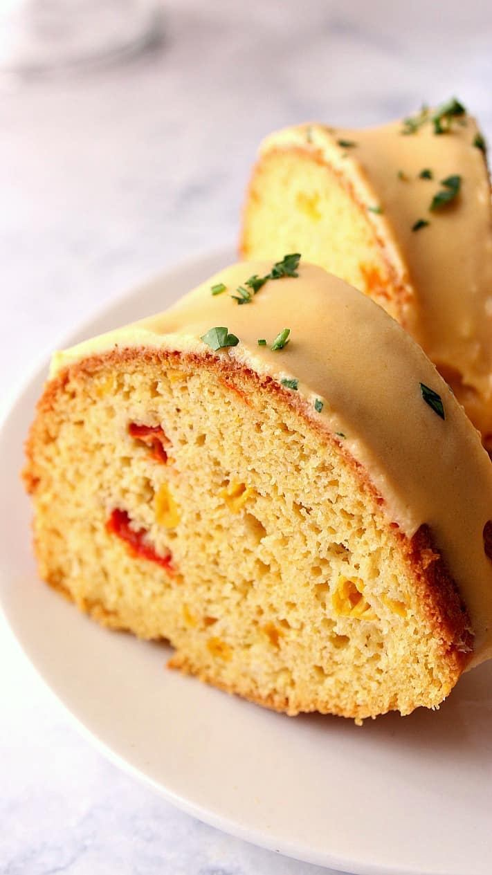 cornbread bundt cake with nacho cheese sauce 2a Cornbread Bundt Cake with Nacho Cheese Sauce Recipe