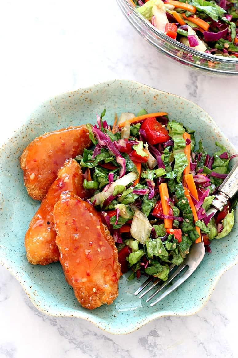 Asian chopped salad 1 Asian Chopped Salad with Garlic Sesame Vinaigrette Recipe