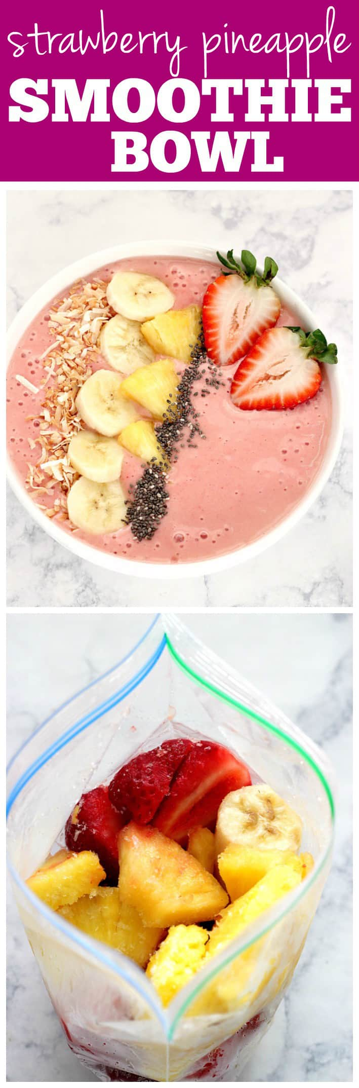 smoothie bowl recipe long 1 Strawberry Pineapple Smoothie Bowl Recipe