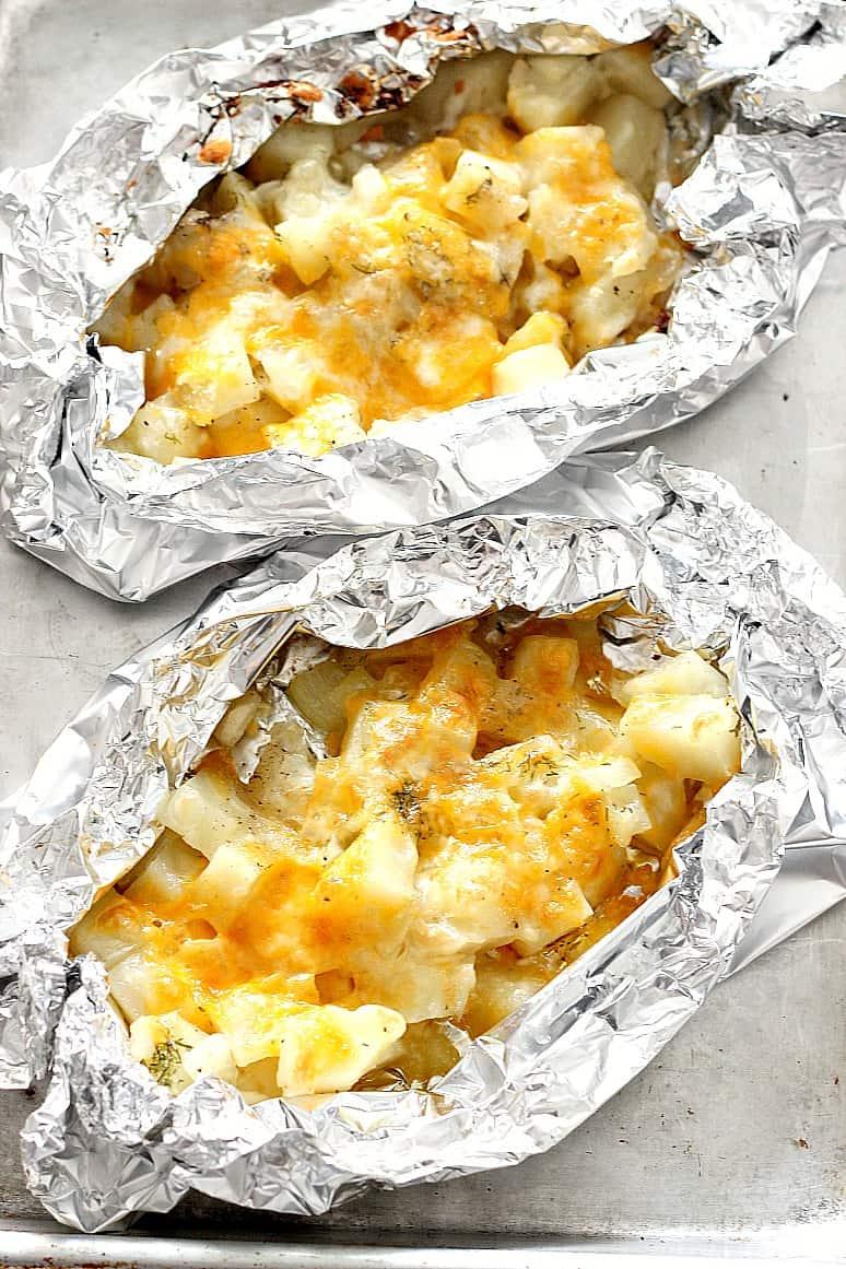 cheesy potato foil packs 4 Cheesy Potatoes Foil Packs Recipe