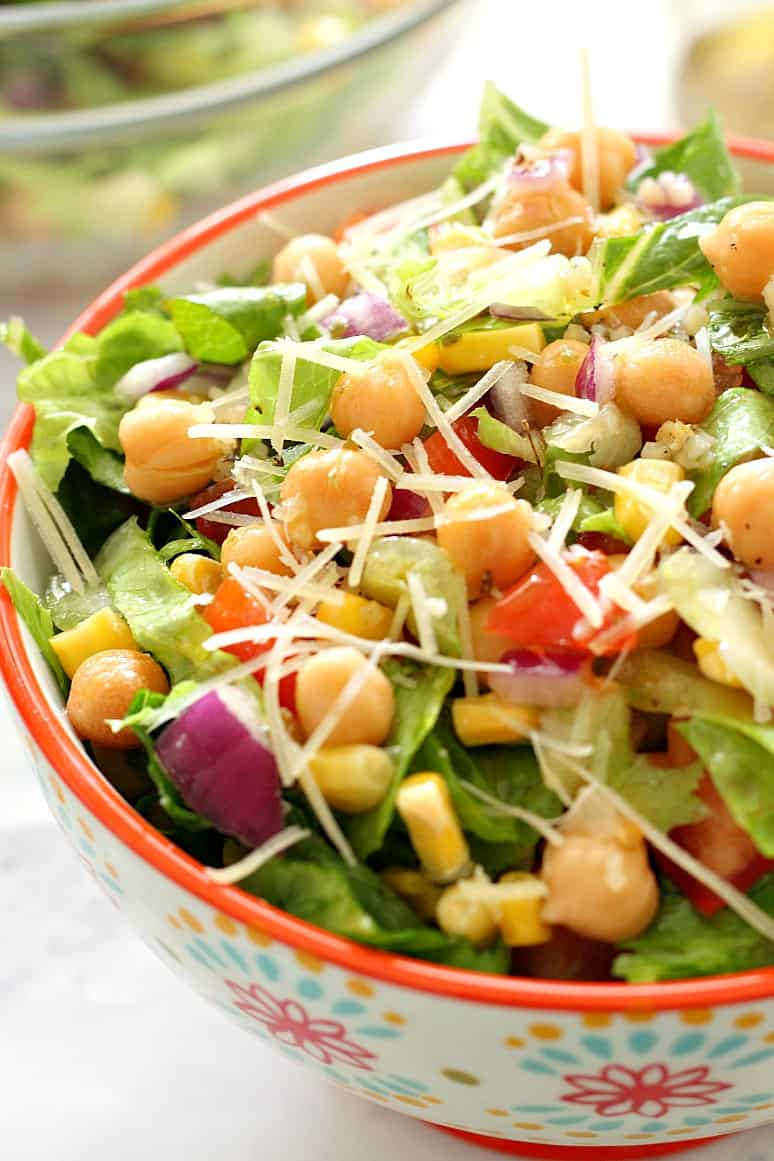 chickpea salad 3 Chickpea Salad with Garlic Parmesan Vinaigrette Recipe