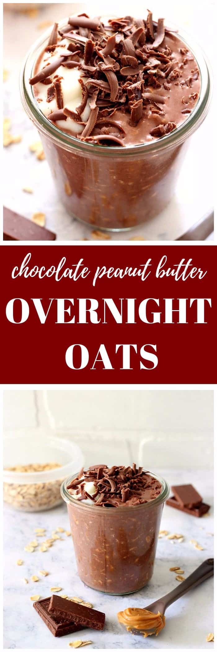 chocolate peanut butter overnight oats recipe long1 Chocolate Peanut Butter Overnight Oats Recipe