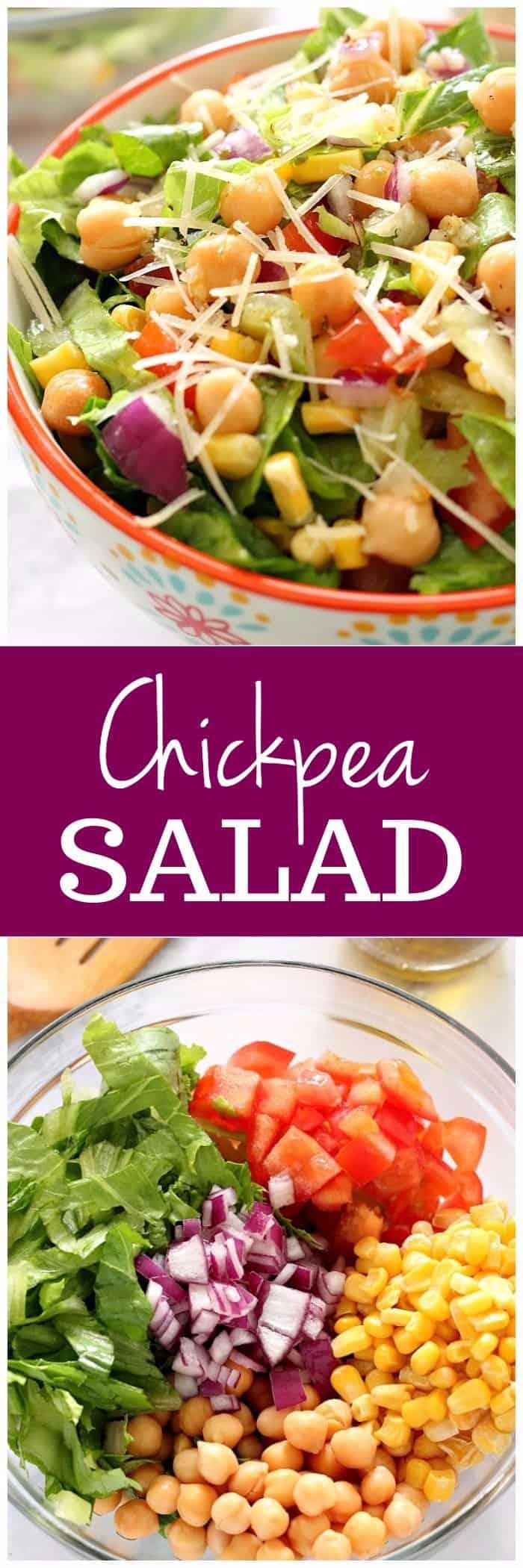 easy chickpea salad with garlic parmesan vinaigrette recipe long1 Chickpea Salad with Garlic Parmesan Vinaigrette Recipe