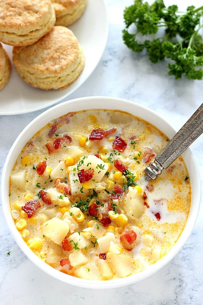 instant pot corn chowder 1 Instant Pot Corn Chowder with Bacon Recipe