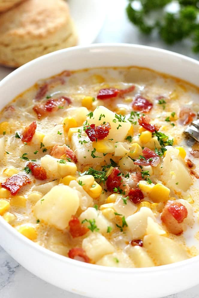 instant pot corn chowder 2 Instant Pot Corn Chowder with Bacon Recipe