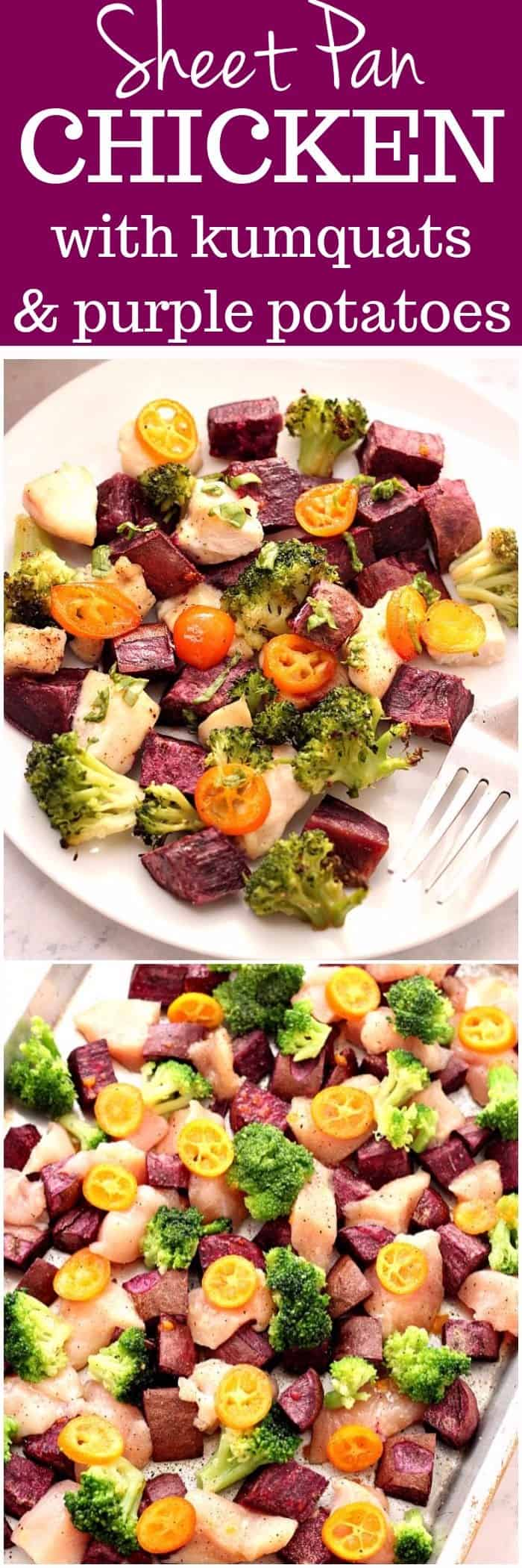 sheet pan chicken with kumquats and purple potatoes recipe long1 Sheet Pan Chicken with Kumquats and Purple Potatoes
