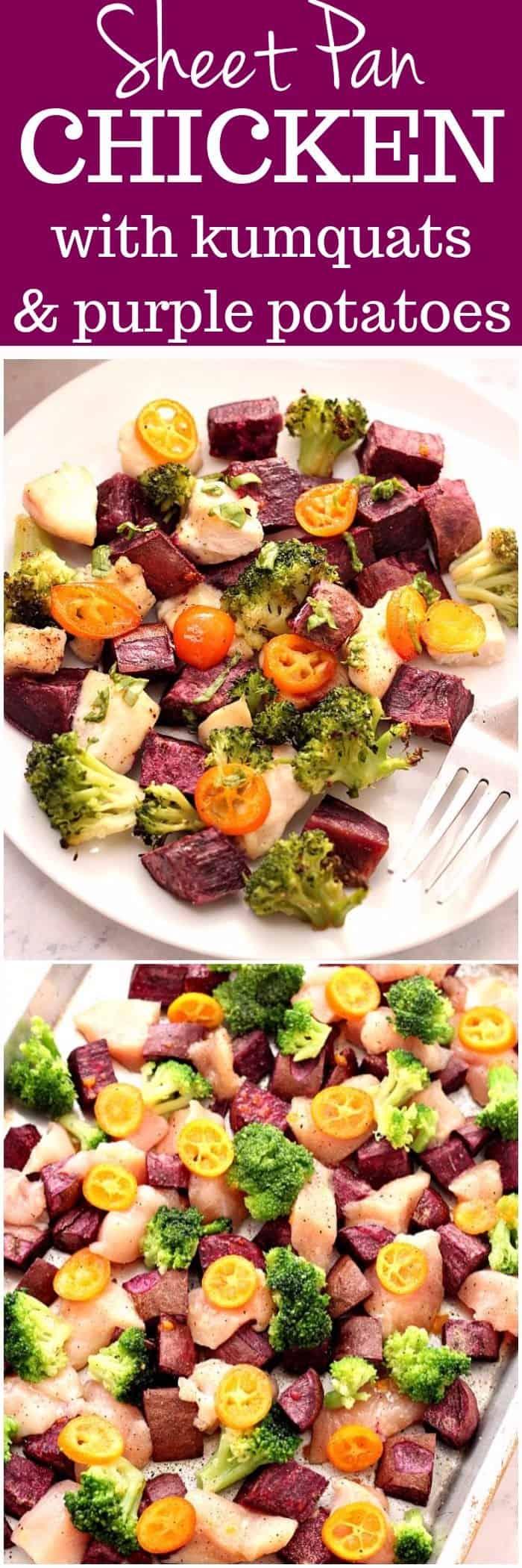 sheet pan chicken with kumquats and purple potatoes recipe long1 Sheet Pan Chicken with Kumquats and Purple Potatoes