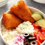 crispy fish Greek rice bowls 1 150x150 Crispy Fish Greek Rice Bowls Recipe
