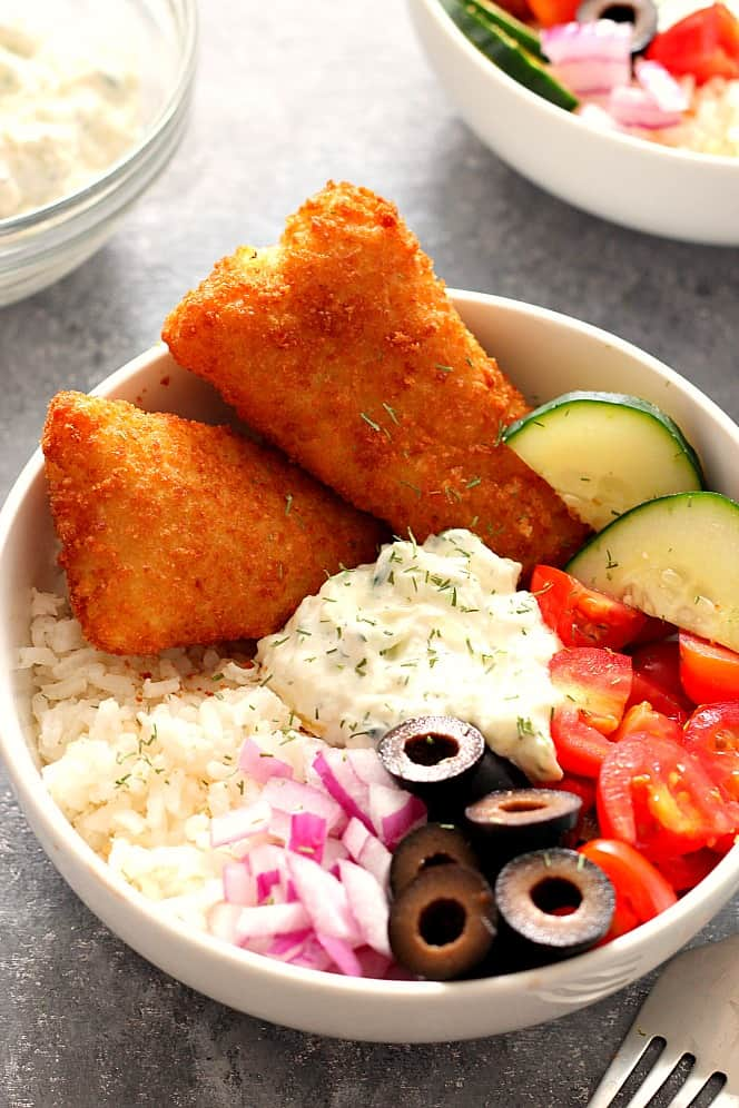 crispy fish Greek rice bowls 1 Crispy Fish Greek Rice Bowls Recipe