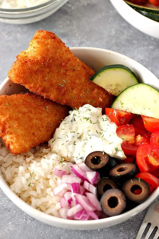 crispy fish Greek rice bowls 4 Crispy Fish Greek Rice Bowls Recipe