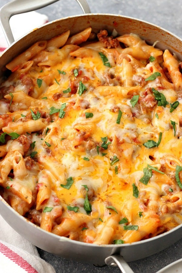 one pot cheesy sausage penne recipe a One Pot Cheesy Sausage Penne Recipe
