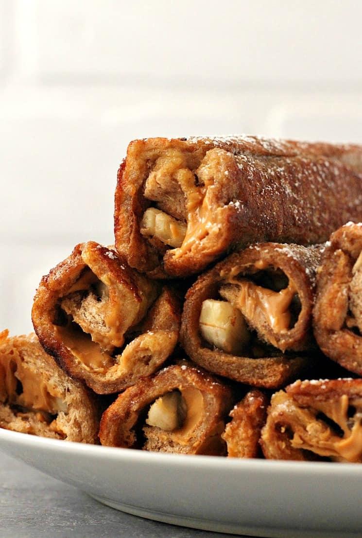 Peanut Butter Banana French Toast Roll Ups Recipe ...