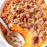 the best sweet potato casserole with praline topping recipe 2 150x150 The Best Easy Sweet Potato Casserole Recipe
