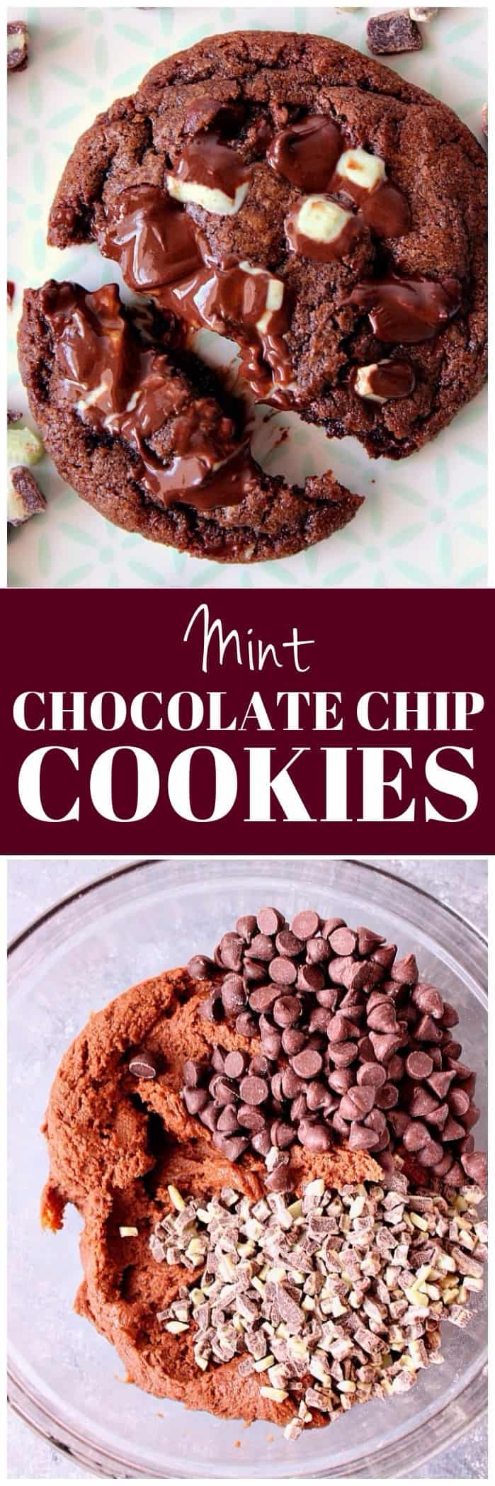 mint chocolate chip cookies recipe long1 Mint Chocolate Chip Cookies Recipe