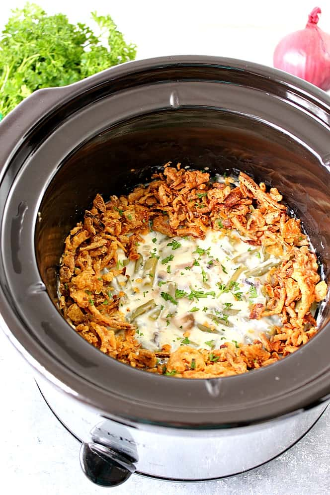 slow cooker green bean casserole recipe 2 The Best and Easy Holiday Dinner Recipes