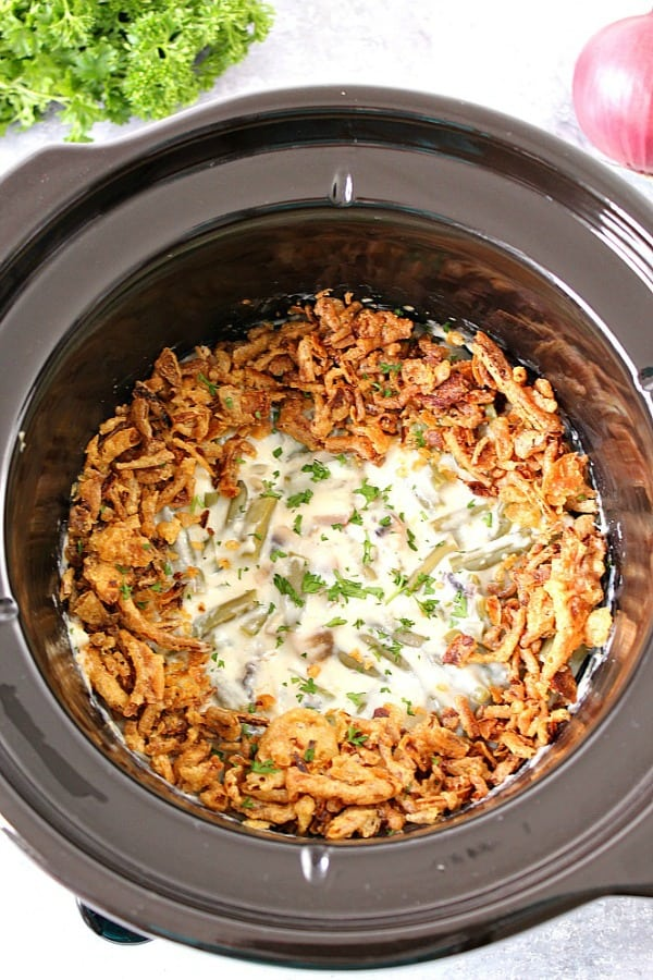 slow cooker green bean casserole recipe a Slow Cooker Green Bean Casserole