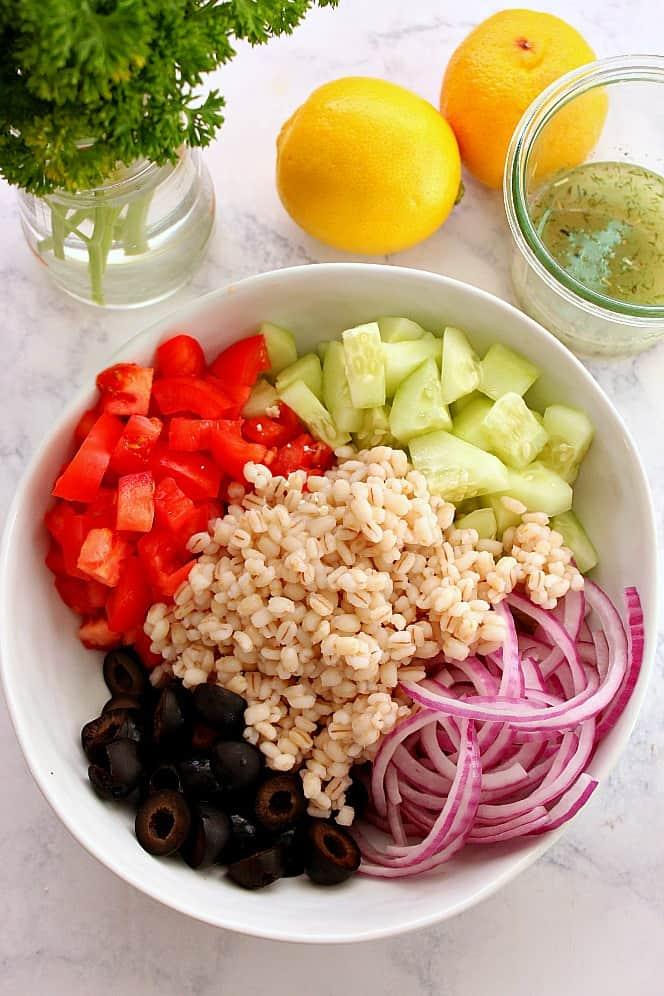 barley greek salad 1 Greek Salad with Barley Recipe