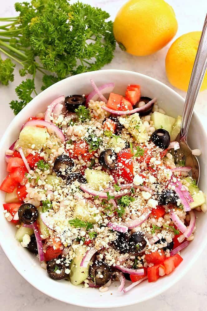 barley greek salad 2 Greek Salad with Barley Recipe