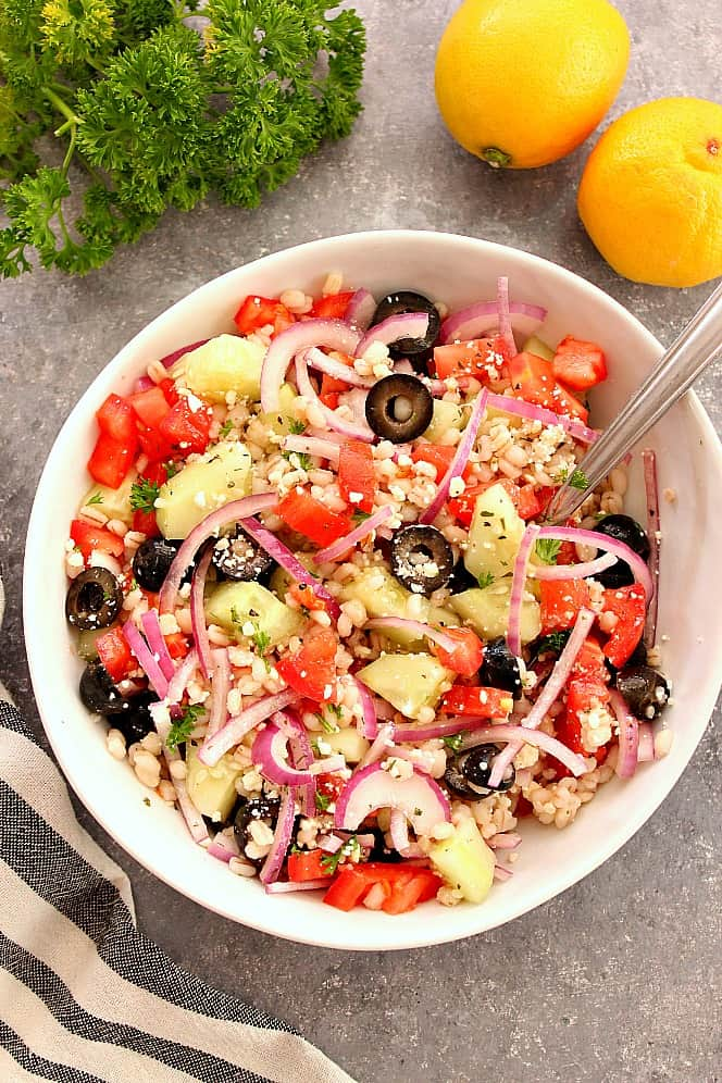 barley greek salad 5 Greek Salad with Barley Recipe