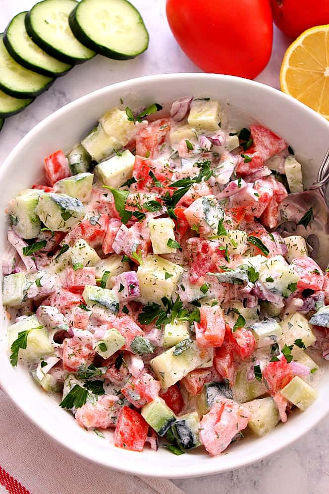 tomato cucumber salad 2 Creamy Cucumber Tomato Salad