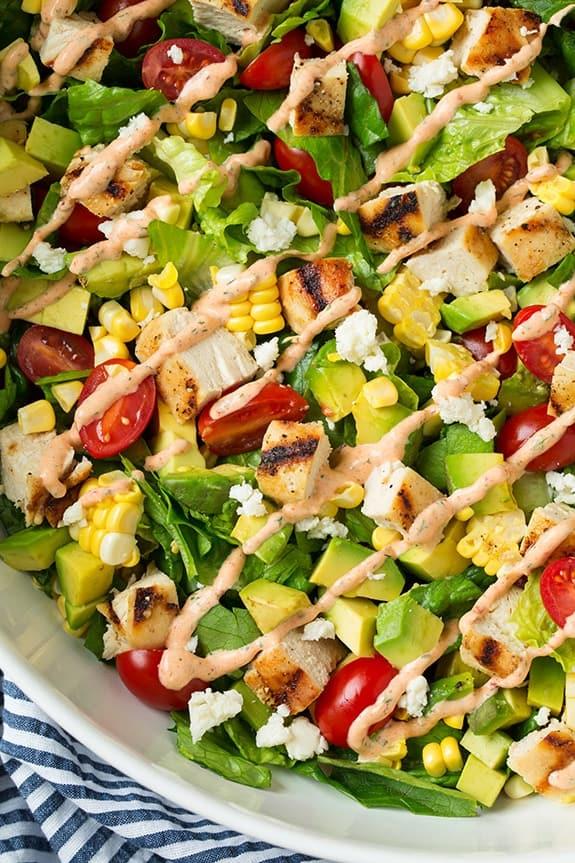 avocado adn grilled chicken chopped salad7 srgb.1 25 Delicious Avocado Recipes
