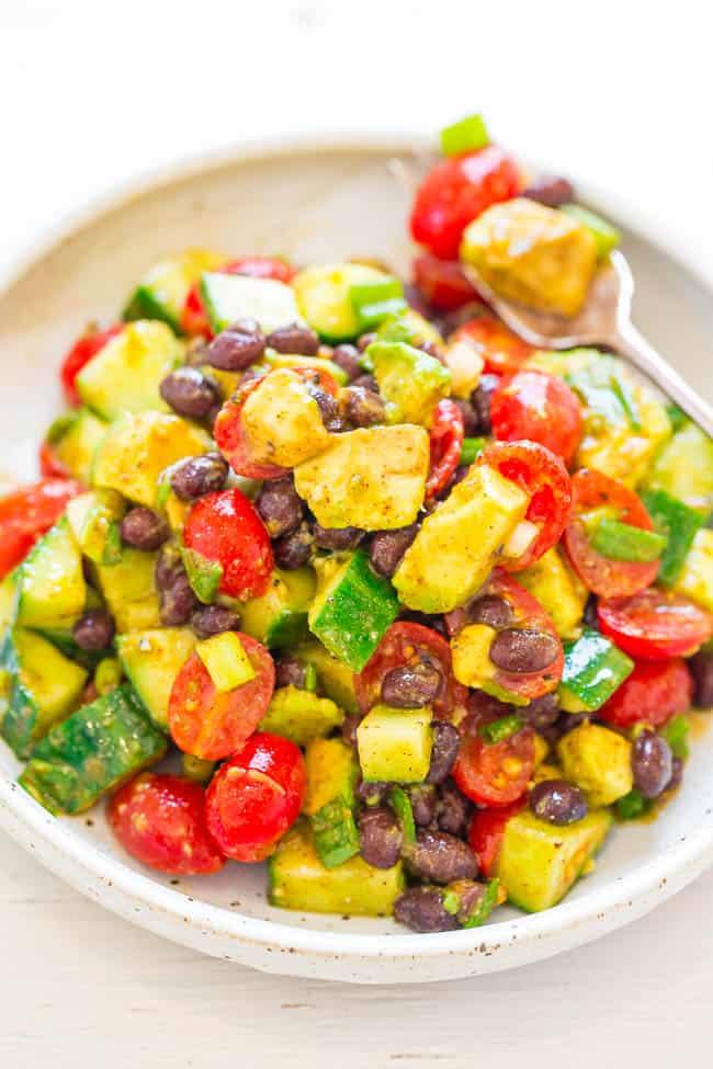 avocadoblackbeansalad 7 25 Delicious Avocado Recipes