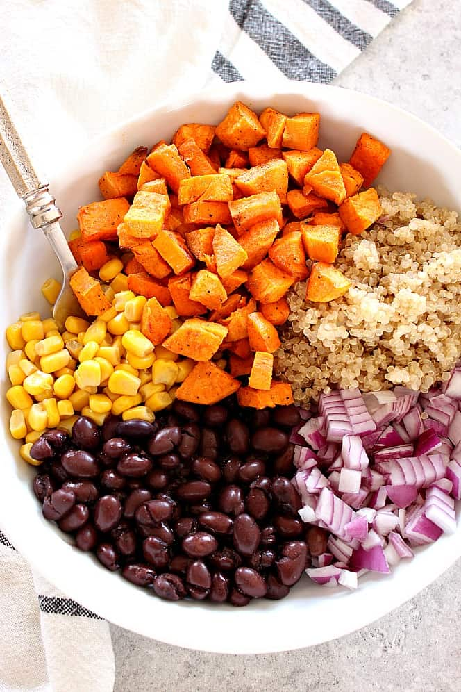 sweet potato quinoa salad 1 Roasted Sweet Potato Black Bean Quinoa Salad Recipe