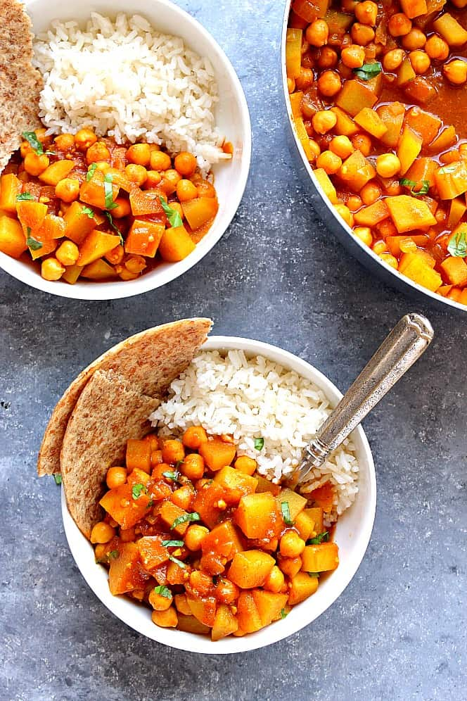 chickpea and potato curry 1 Easy Chickpea and Potato Curry Recipe (Chana Aloo)