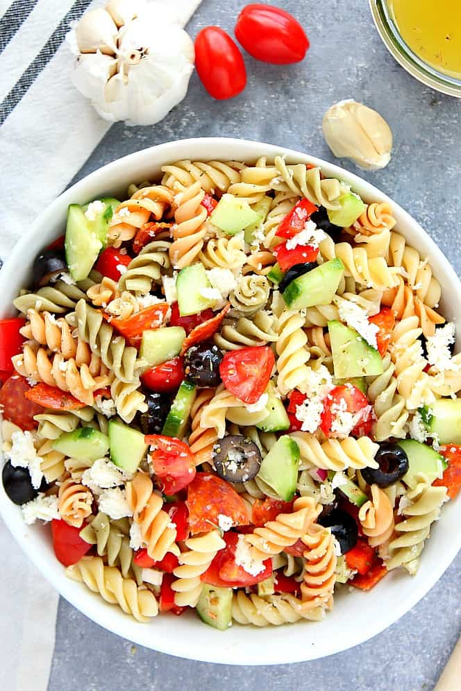 Cold pasta salad with italian dressing and ham