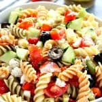 Italian Pasta Salad in a big white bowl.