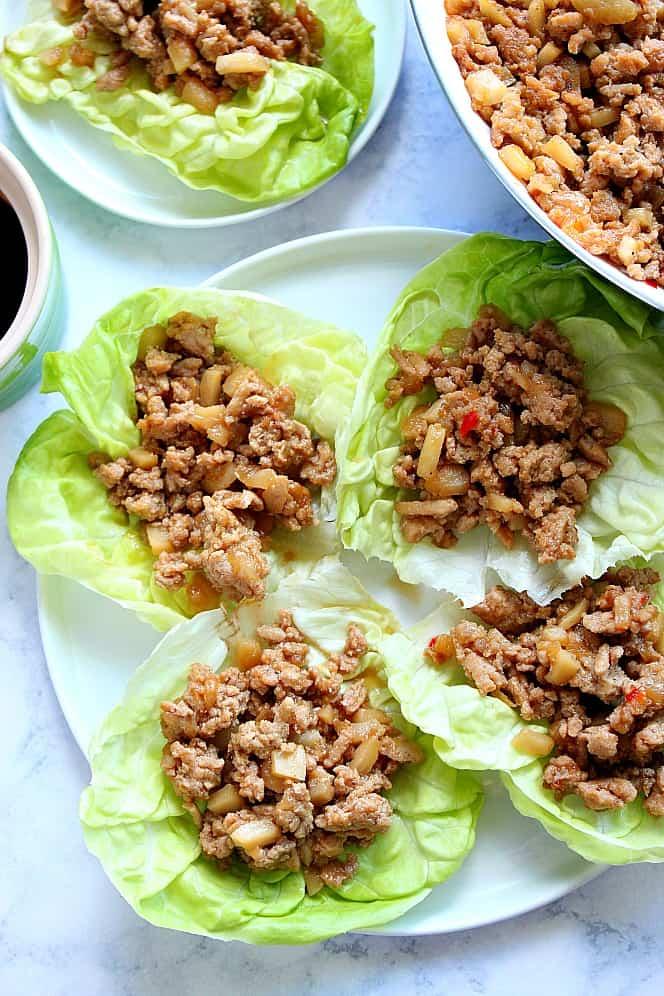 chicken lettuce cups 4 P. F. Changs Chicken Lettuce Wraps (Copycat Recipe)