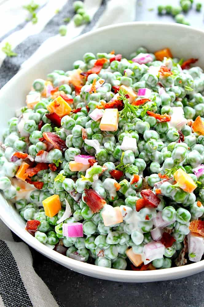 creamy green pea salad 3 Creamy Pea Salad with Bacon