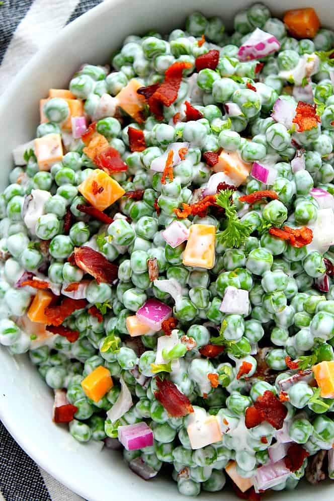 creamy green pea salad 4 Creamy Pea Salad with Bacon