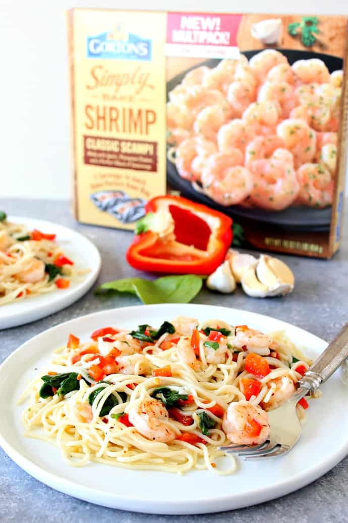 shrimp scampi 1 Shrimp Scampi with Peppers and Spinach