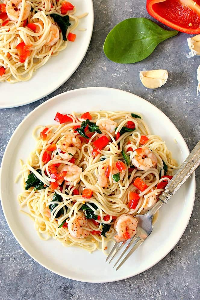 shrimp scampi 2a Shrimp Scampi with Peppers and Spinach