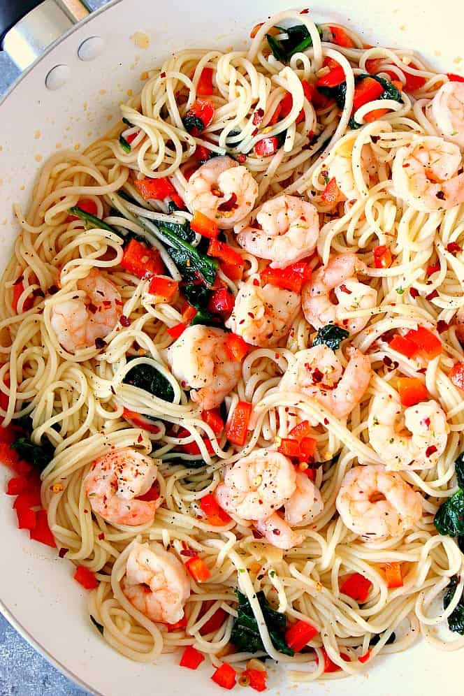 shrimp scampi 4 Shrimp Scampi with Peppers and Spinach